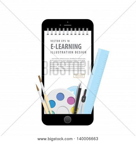 E-learning With Mobile Phone, Learning Through An Online Network. With Supplies Such As Pens, Book W
