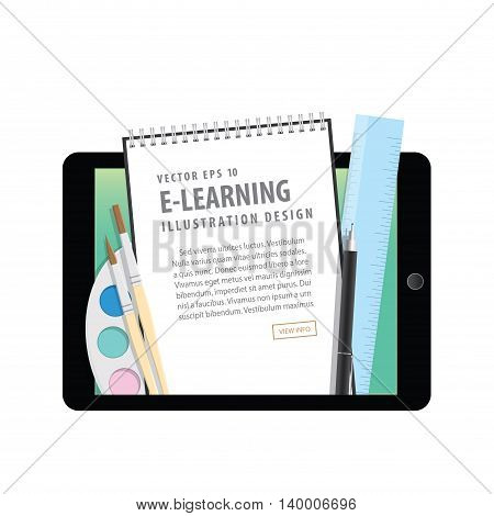 E-learning With Tablet, Learning Through An Online Network. With Supplies Such As Pens, Book Wire, C