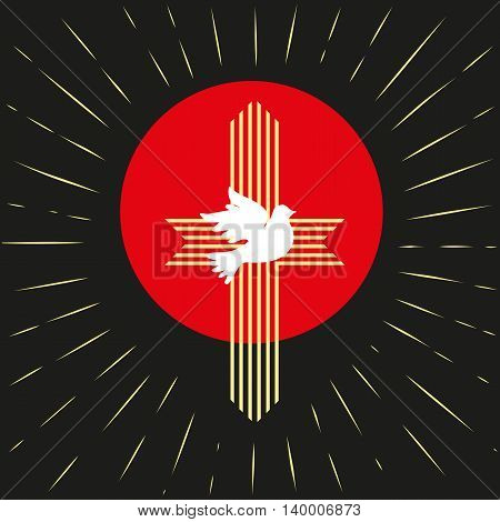 Pentecost Trinity Sunday. Christian holiday concept. Holy spirit Jesus God. Church sacrament symbol. Biblical tongues of fire cross holy spirit dove. Religious logo. Vector illustration.