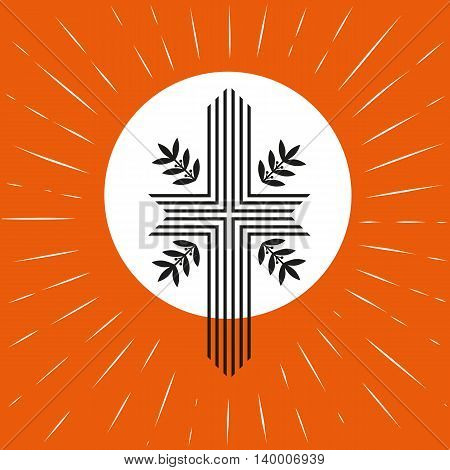 Church logo concept. Pentecost Trinity Sunday. Christian Holy spirit Jesus God. Church sacrament symbol. Biblical cross holy spirit. Religious logo. Vector illustration.
