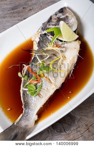 Grilled dorado fish served with soy sauce