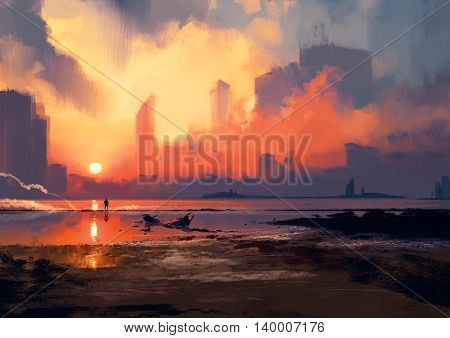 man on sea beach looking at skyscrapers at sunset, illustration painting