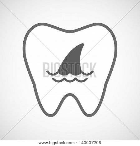 Isolated Line Art Tooth Icon With A Shark Fin