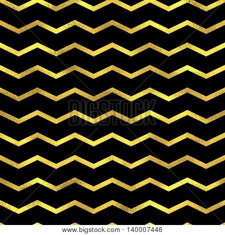 Gold Glittering Zigzag Wave Backgrouns