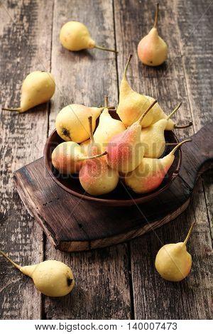 Ripe Pears On Vitage Wooden Table