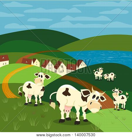 Milk cow. Dairy natural product Concept. Herd of Jersey Holstein cows. Rural landscape. Village houses on lake bank. Green hills grass. Vector illustration