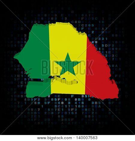 Senegal map flag on hex code 3d illustration