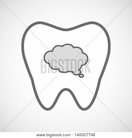 Isolated Line Art Tooth Icon With A Comic Cloud Balloon