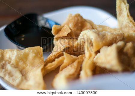 The Fried Dumplings With Sweet Sauce