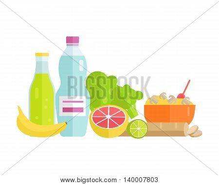 Group of food vector illustrations. Flat design. Collection of various food cereal, bread, soda, water, fruits and vegetables on white background for diet, menus, signboards illustrating.