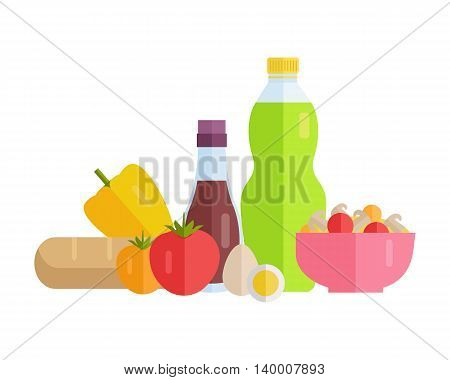Group of food vector illustrations. Flat design. Collection of various food juice, ketchup, bread, salad, vegetables on white background for diet, menus, signboards illustrating, web design