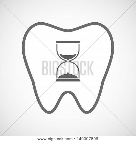 Isolated Line Art Tooth Icon With A Sand Clock