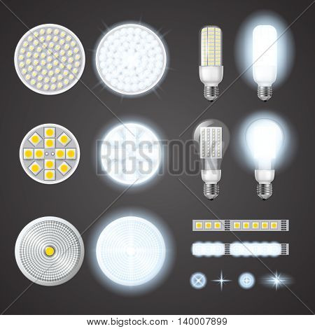 Turned on and off led lamps and lights effects of different size and shape set on black background isolated realistic vector illustration