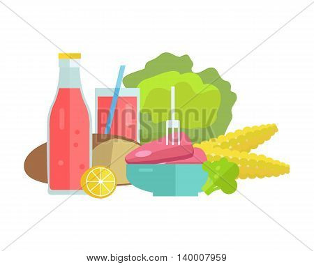 Group of food vector illustrations. Flat design. Collection of various food cabbage, corn, bread, lemon, broccoli, soda, meat on white background for diet, menus, signboards illustrating web design