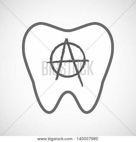 Isolated Line Art Tooth Icon With An Anarchy Sign