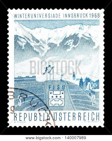 AUSTRIA - CIRCA 1968 : Cancelled postage stamp printed by Austria, that shows Ski jump and mountain.
