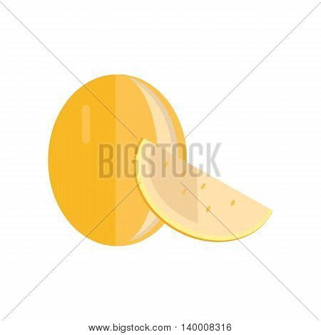 Melon vector in flat style design. Fruit illustration for conceptual banners, icons, mobile app pictogram, infographic, and logotype element. Isolated on white background.