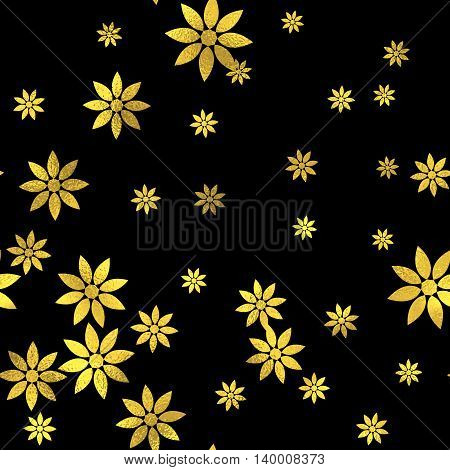 Abstract black and gold seamless pattern. Vector art deco fashion seamless background, gold foil textured pattern with flowers