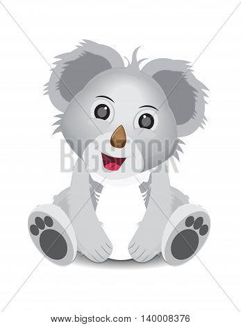 cute funny koala character sitting facing front