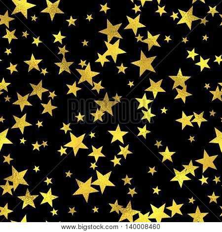 Abstract black and gold seamless pattern. Vector art deco fashion seamless background, gold foil textured stars pattern