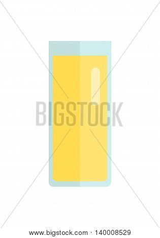Glass with juice beverage vector in flat style design. Sweet summer drinks concept. Illustration for app icons, label, prints, logo, menu design, food infographics. Isolated on white background.