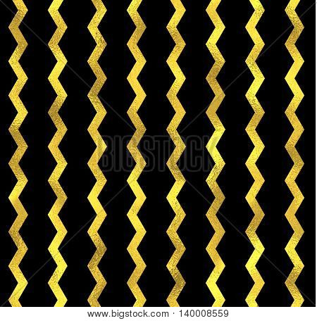Gold glittering zigzag wave seamless pattern, gold decoration on black background with seamless ornament