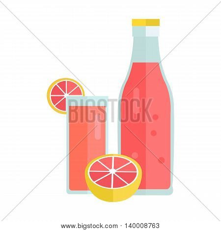 Bottle and glass with citrus beverage. Vector in flat style design. Sweet summer drink concept. Illustration for icons, labels, prints, logo, menu design, infographics. Isolated on white background.