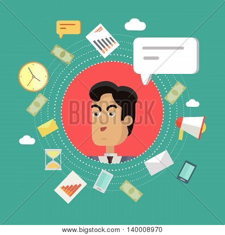 Creative office background. Businessman icon with bubble. Avatars of men with devices for communication. Smiling young man personage in flat on green background. Vector illustration.