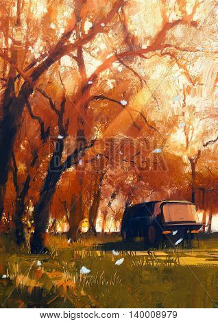 old travelling van in beautiful autumn forest, digital painting
