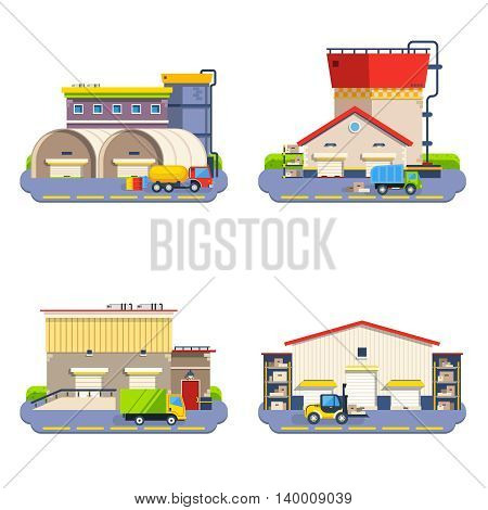 Warehouse buildings of different size and shape with transport for goods delivery flat icons set on white background isolated vector illustration