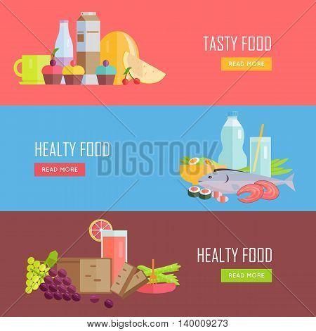 Set of Tasty and Healthy Food banners. Flat design. Collection of nutrition horizontal concept vectors with various foods and drinks. Illustration for cafe, grocery, farm web page, menus design.