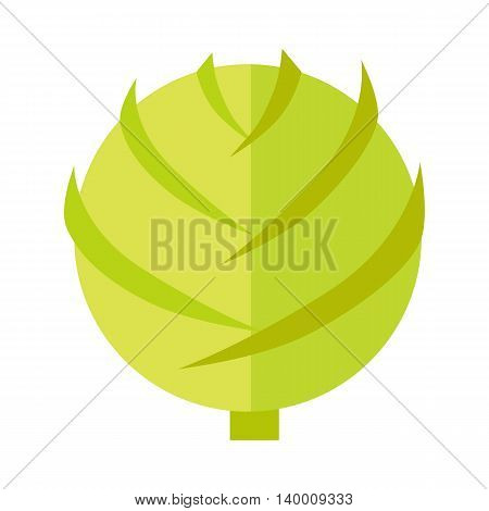 Cabbage vector in flat style design. Vegetable illustration for conceptual banners, icons, app pictogram, infographic, and logotype elements. Isolated on white background.