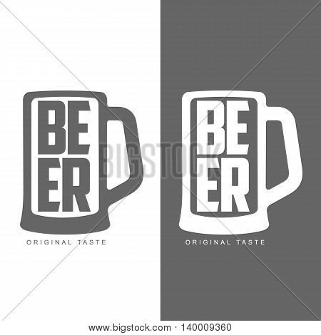 glass of beer, illustration label icon badge. black and white icons isolated symbol glass of beer.