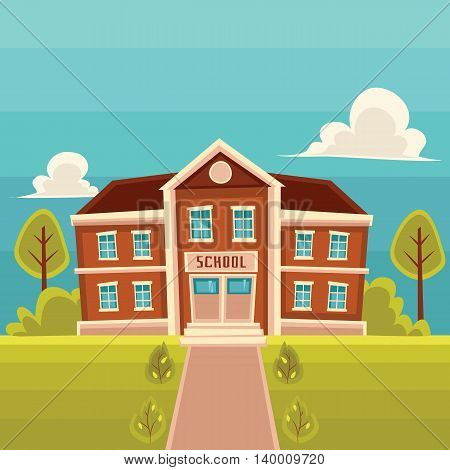 School building cartoon illustration on landscape background. Front view of entrance to classical red brick school building road trees and lawn