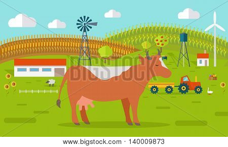 Farmyard vector illustration. Flat design. Cow standing against the farm landscape, tractor, cow, fields on background. Organic farming concept. Traditional agriculture. Modern ecological farm.