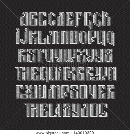 stylization of old slavic font. white letters on a dark background. Stock vector typography