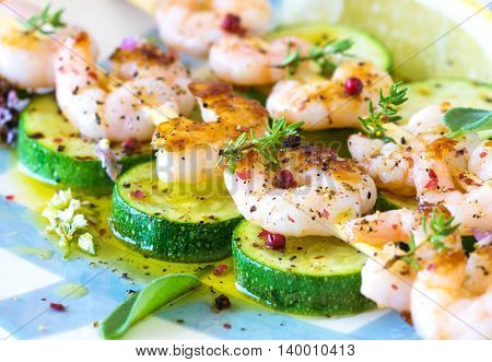 Shrimps Skewers With Zucchini On Wooden Background