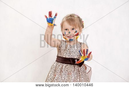 Smart Child Playing With Colors