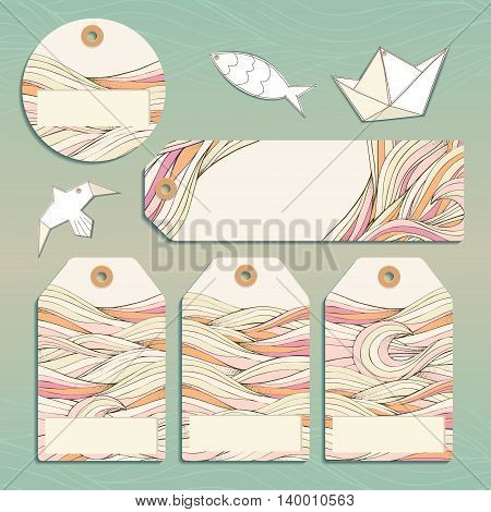 Vector set gift tags stickers and labels. Template for Greeting Scrapbooking Congratulations Invitations Planner Diary Notes.