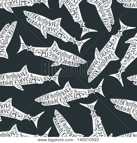 Vintage seamless pattern with typography monochrome shark silhouette, and hand drawn style font. Vector Illustration lettering background.