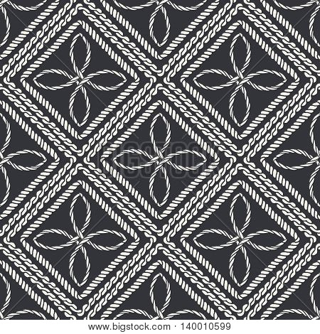 Seamless nautical rope knot pattern. Endless navy illustration with white decorative cord ornament black backdrop. Trendy maritime style background. For fabric, wallpaper, wrapping