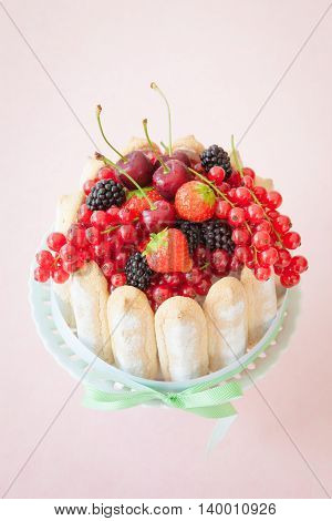 Charlotte with ladyfingers and fresh red fruits