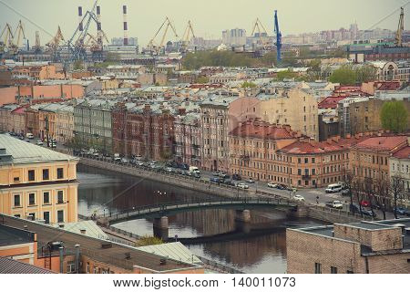The view from the roof at the bridges and the embankment of the river Fontanka in St. Petersburg .Russia.