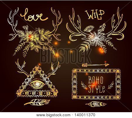 Beautiful hand drawn vector illustration set of boho style gold labels. Use for postcards, print for t-shirts, posters, wedding invitation, tissue, linens
