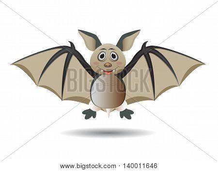illustration cute happy cartoon bat character flying
