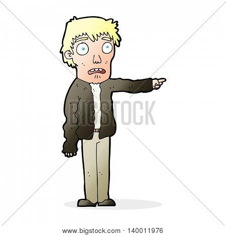 cartoon terrified man pointing