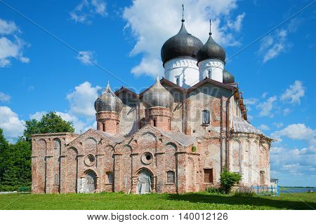 The old Trinity Cathedral of the Holy Trinity of Michael of Klopsk monastery on a sunny june day. Novgorod region, Russia