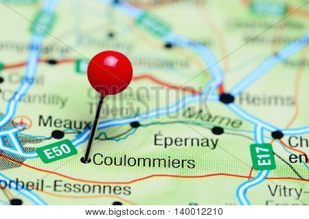 Coulommiers pinned on a map of France