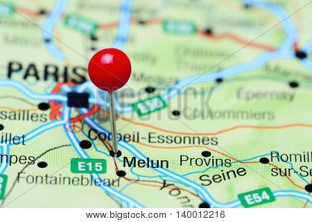 Melun pinned on a map of France