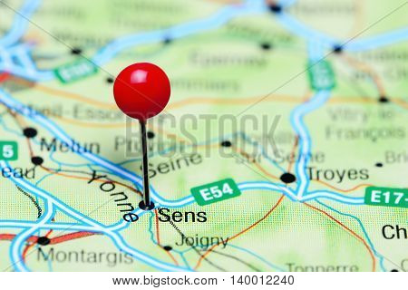Sens pinned on a map of France